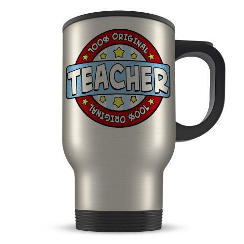 14oz 100% Original Teacher Novelty Gift Aluminium Travel Mug - Blue